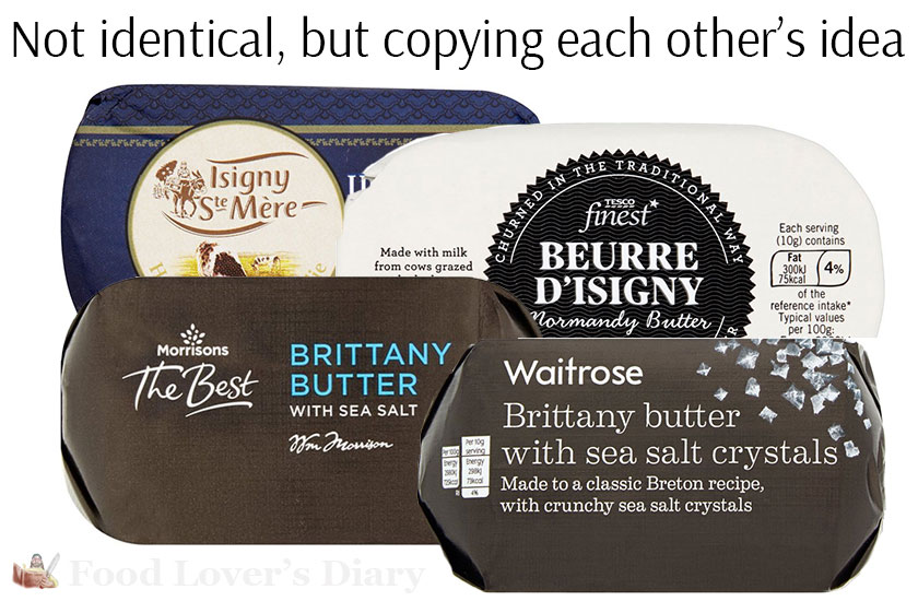 Only the labels are different - picture of butter from Morrisons, Tesco, Waitrose and Sainsbury's