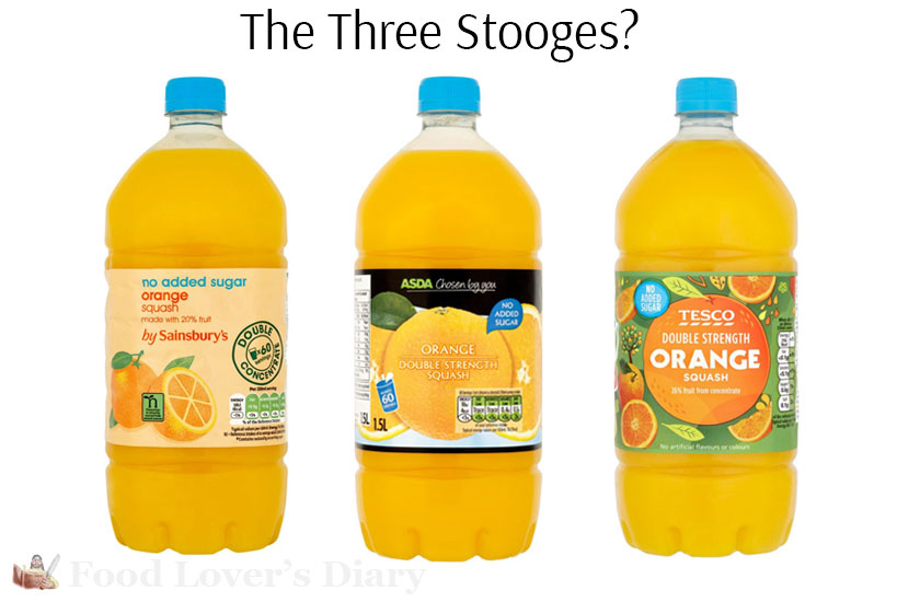 These bottles of Orange Squash are absolutely identical, just with different labels.
